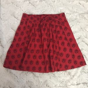 Madewell red floral skirt with pockets XS